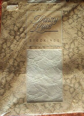 Vintage  Daisy Lace Stockings by Sock Shop size B (medium.) Colour White