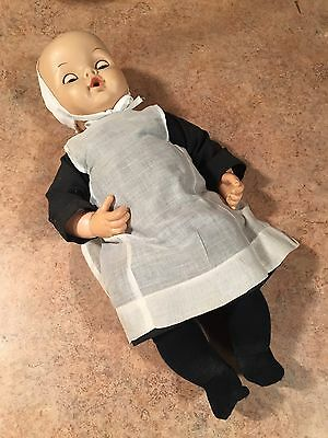 "Uneeda Vintage Amish Pioneer Baby Doll With Clothes 18"" Tall NICE ! Rare"