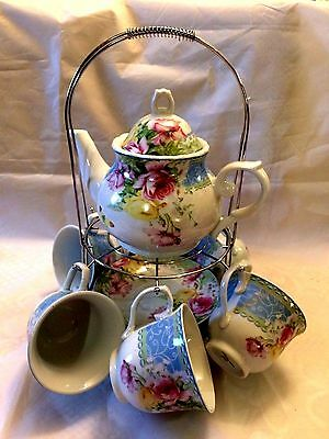 Beautiful Pink Roses 13 Pcs Tea Set Teapot,6 Saucers & 6 Cups w/Stand D.G.China