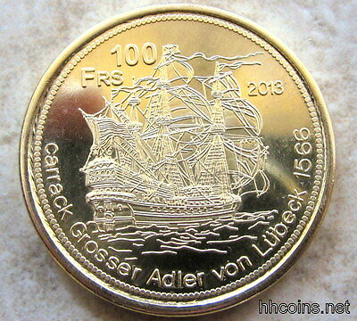 Tromelin Island French Southern Territories 2013 100 Francs Coin, Sailing Ship