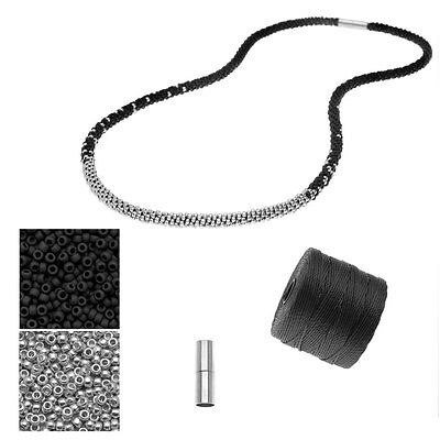 Refill Long Beaded Kumihimo Necklace Black & Silver Exclusive Beadaholique Kit