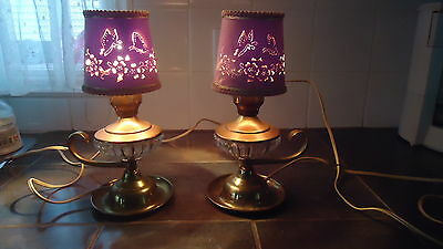 PAIR OF Vintage Brass & Glass  table lamps cut out shades butterflies