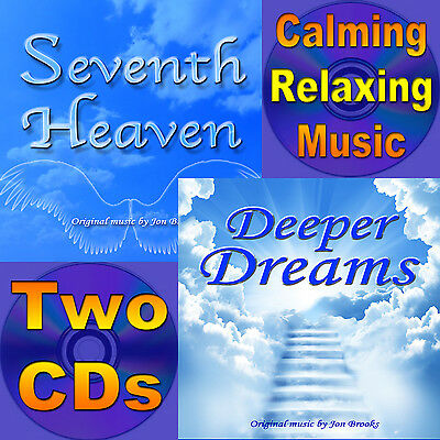 "2 CDs Calming Music for Stress and Anxiety ""DEEPER DREAMS"" ""SEVENTH HEAVEN"""