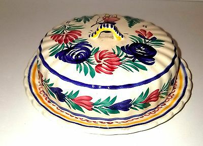 Vintage Quimper Covered Cheese Butter Dish Signed & Hand-painted 1922-1968