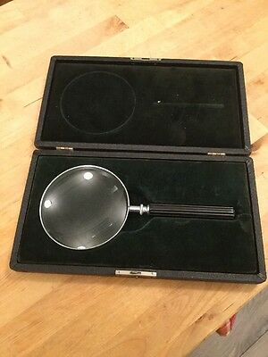"Vintage Atco 3.5"" Magnifying Glass Velvet Case Decorative Handle Kinsman"