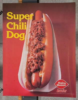 Vintage Dairy Queen Promotional Poster Super Chili Dog 1980 dq2