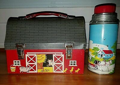 Vintage 1958 Red Barn Open Door Metal Lunchbox Dome THERMOS No Cup Damage Rust