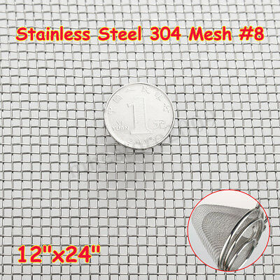 Stainless Steel 304 Mesh #8 .035 Wire Cloth Screen 12''x24''