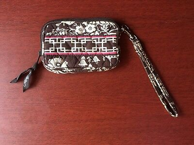 Vera Bradley IMPERIAL TOILE WRISTLET Strap TECH Case WALLET Brown VHTF!