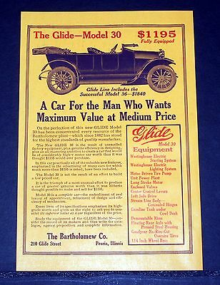 1914 Old Magazine Print Ad, Bartholomew Glide 30, For The Man Who Wants Value!