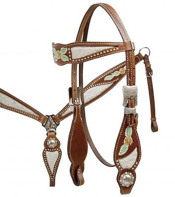 Western Horse/rodeo-Floral,white Inlay,conchos-Bridle, Reins & Breast Plate Set