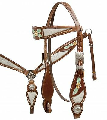Western Horse/rodeo- White Inlay,conchos-Bridle, Reins & Breast Plate Set