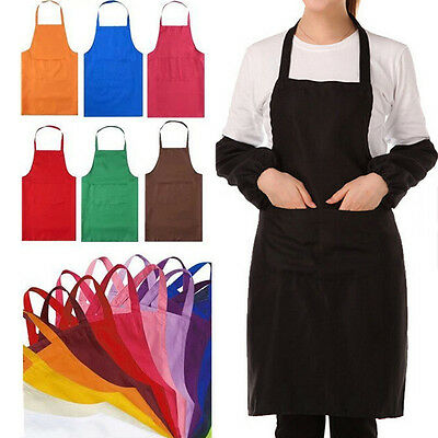 Hot Women Solid Cooking Kitchen Restaurant Bib Apron Dress with Pocket Gift