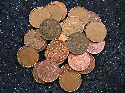 Canada One Cent (Penny) Mixed Dates Lot of 24 Coins
