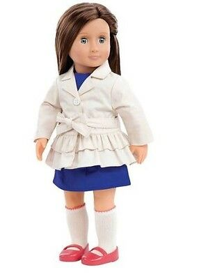"""Our Generation 18"""" Fashionable Doll Lilia Blue Eyes Brown Hair Trench Coat New"""