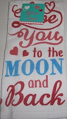 "Valentine's Day Towel 15"" x 25"" 100% Cotton  LOVE YOU TO THE MOON AND BACK"