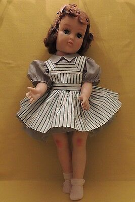 Ideal Doll  MK19 Orig Harriet Hubbard Ayers Gray Dress & Green Striped Pinafore