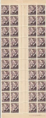 Stamps Australia 1951 KGV1 2&1/2d brown gutter strip of 40 imprint & perf pips