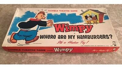 Vintage 1965 Wimpy Where Are My Hamburgers Board Game Hasbro 100% Complete