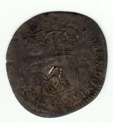 French Colonial, 1694 A recoined billon sol with lis c/m