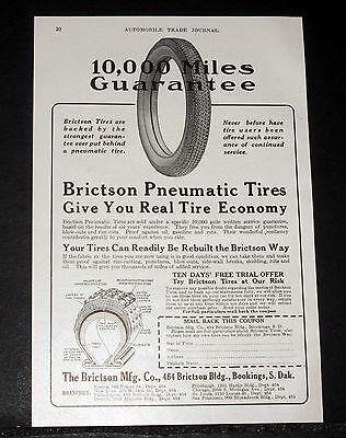1914 Old Magazine Print Ad, Brictson Pneumatic Tires Give You Real Tire Economy!