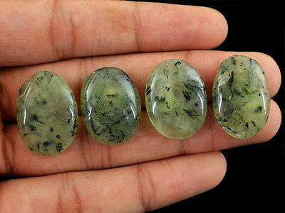 99.15 Cts / 4 Pcs Natural Unheated Oval Shaped Rich Green Phrenite Gemstones Lot