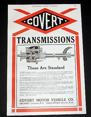 1914 Old Magazine Print Ad, Covert Automobile Transmissions, These Are Standard!