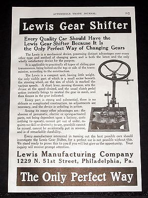 1914 Old Magazine Print Ad, Lewis Gear Shifter, Quality Cars Should Have One!