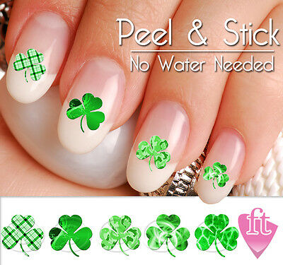 St Patricks Day Shamrock Four Leaf Clover Nail Art Decal Sticker