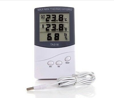 LCD  Digital Indoor Outdoor Thermometer 2 Sensors Alarm Weather and Temperature