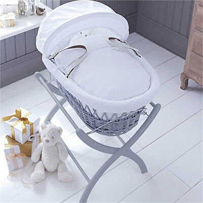 Brand new Izziwotnot grey wicker moses basket in white gift with grey stand