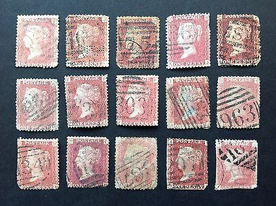 Collection Of GB QV Penny Red Stamps Used