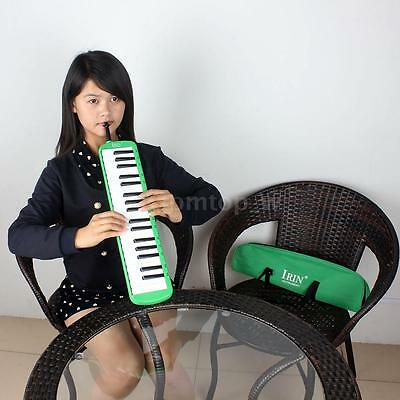 37 Keys Piano Melodica Pianica with Carrying Bag for Beginners Green S4X3