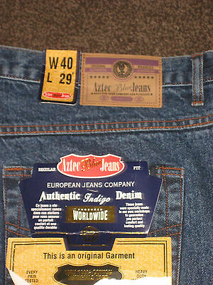 """Mens AZTEC Blue Jeans  W40""""   Leg 29""""   NEW WITH TAGS"""