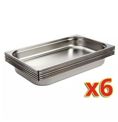 Stainless Steel GN1/1 Gastronorm 100mm Depth: Pans Set of 6 /Commercial Kitchen