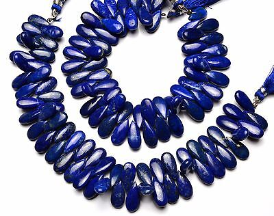 NATURAL GEM LAPIS LAZULI SMOOTH PEAR SHAPE BRIOLETTES 7x15MM APPROX. 224CTS. 8""