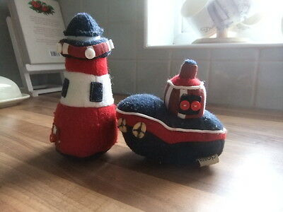 Two Dorma Felt Nautical Lighthouse and Boat.