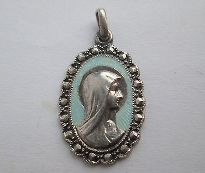 Antique Silver & Guilloche Enamel Christian Icon Virgin Mary Charm Pendant Fob