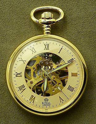 ROYAL LONDON Pocket Watch Jeweled Mechanical Skeleton 90002-03