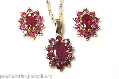 9ct Gold Oval Ruby Pendant and Earring Set Gift Boxed Made in UK