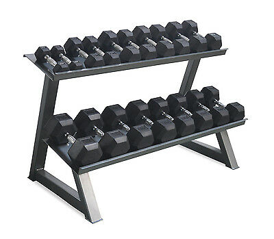 Hex Dumbbell Set 5-25kg (5 pairs) with 2 Tier Commercial Rack