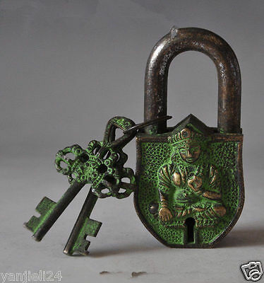 China's Tibet Buddhism Bronze Sculpture White Tara Big Door Lock, The 2 Key