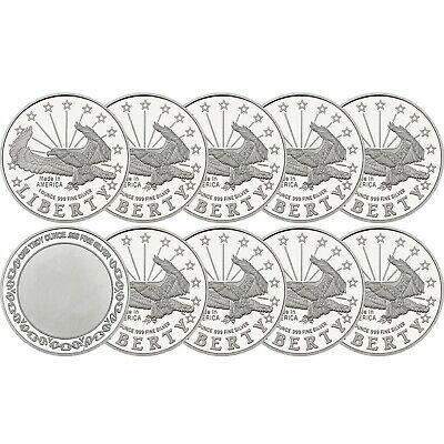 Liberty Eagle 1oz .999 Fine Silver Round by SilverTowne LOT OF 10