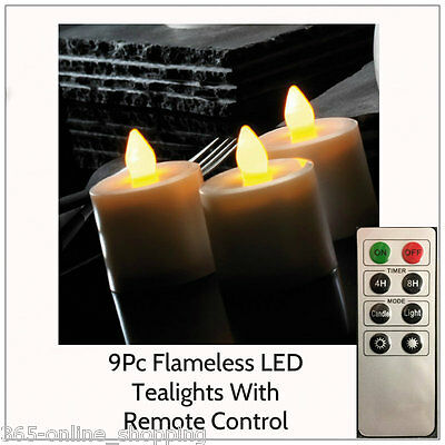 9Pc Flameless Flickering Battery Operated LED Tea Light Candles Remote Control