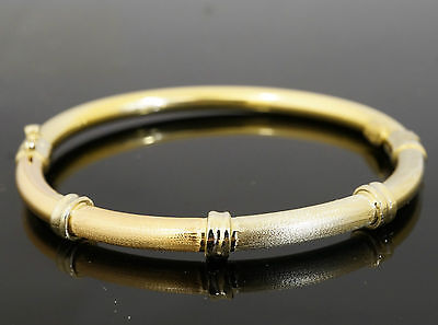 """18Carat Rose, Yellow & White Gold 6"""" Hollow Small Bangle 5mm Width"""