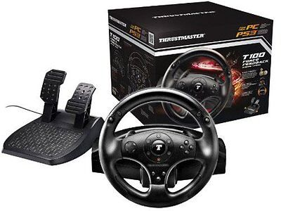 Thrustmaster T100 Force Feedback Racing Wheel Volante + Pedali - PS3 - PS4 - PC