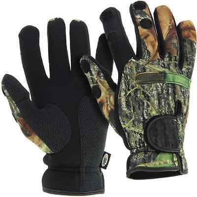 Medium Camo Gloves Carp Coarse Fishing Shooting Neoprene Folding Fingers