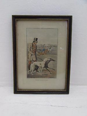 Antique Henry Alken Hand Coloured Print Greyhounds Coursing Engraved By G.Hunt