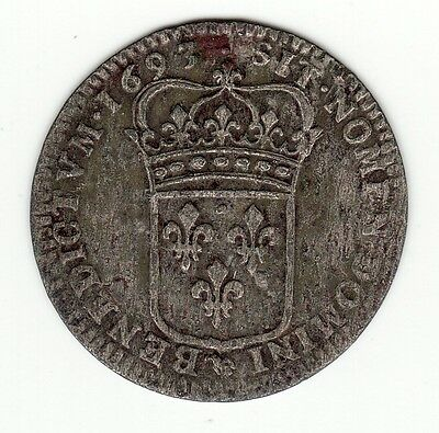 French Colonial, 1693 D  billon sol of 15 deniers