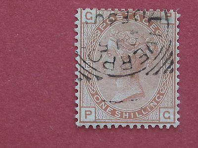 Lot #3386 Victoria 1873 1/- Orange Plate 13 Re Perfed Spacefiller Used SG151
